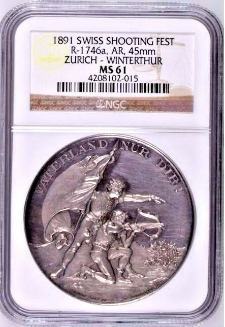 Swiss 1891 Silver Shooting Medal Zurich Winterthur R-1746a Mint-800 NGC MS61