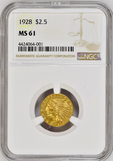 1928 Gold Coin $2.5 Indian Head Quarter Eagle graded NGC MS61