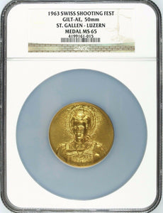 Swiss 1963 Gold Plated Bronze Shooting Medal St Gallen Luzern Woman NGC MS65