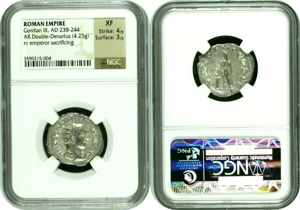 Roman Empire Double Denarius Gordian III sacrificing AD238-244  NGC XF