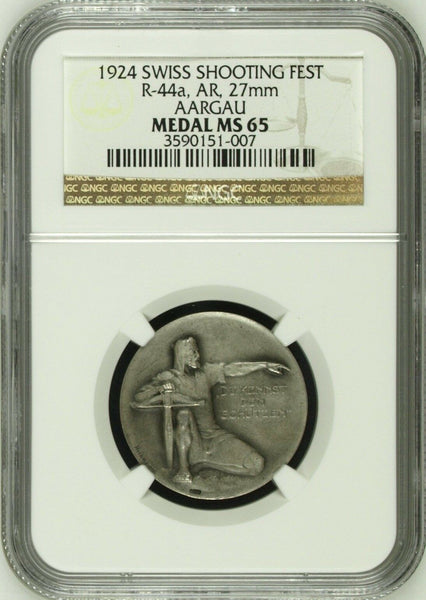 Swiss 1924 Silver Shooting Medal Aargau R-44a M-38 NGC MS65 Switzerland