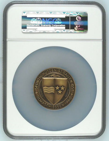 Swiss 1960 Bronze Medal Shooting Fest St Gallen R-1234c NGC MS67 Mintage-340