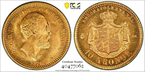 1874 Gold 10 Kronor Oscar II King of Sweden and Norway PCGS MS66