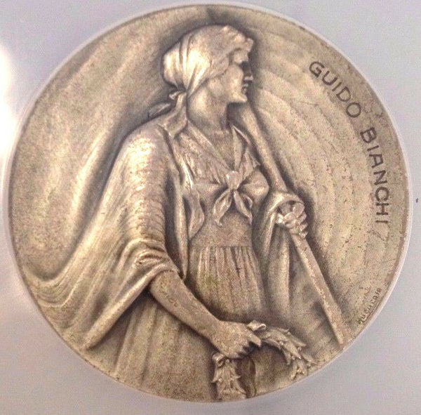 Rare Silver Shooting Medal Switzerland Ticino R-1523a Beautiful Woman NGC MS63