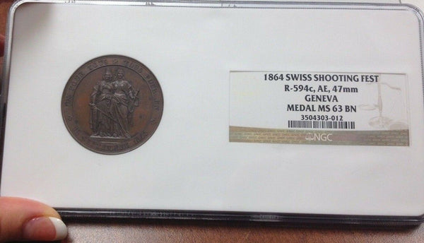 Swiss 1864 Medal 50th Anniversary Geneva's Realignment w Switzerland NGC MS63 BN