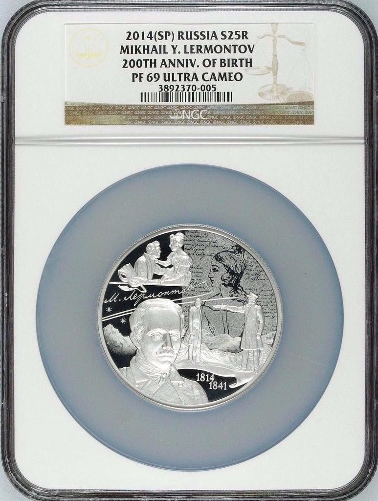 2014 Russia 25 Rouble Silver Mikhail Lermontov 200th Anniv. of Birth NGC PF69