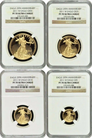 2011 W Gold Proof Set $50 25 10 5 American Eagle 4 Coins United States NGC PF70
