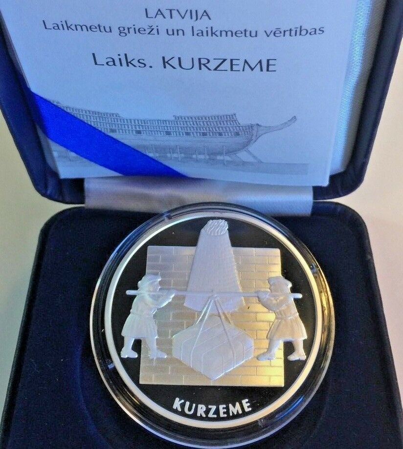 Latvia 2003 Silver Proof Coin 1 Lats Kurzeme Courland Ship Rare Mintage-5,000