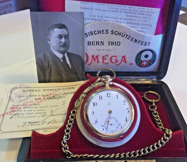 Swiss 1910 Gold Shooting Watch Bern Switzerland Omega Very Rare