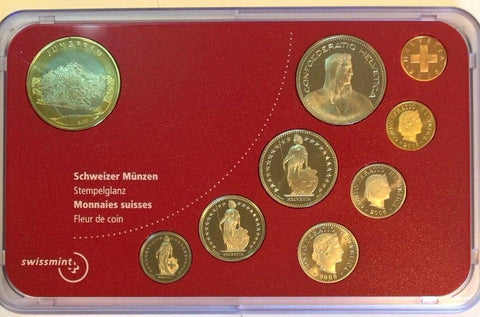 Swiss 2005 Official Set 9 Coins Special Edition Jungfrau perfect condition