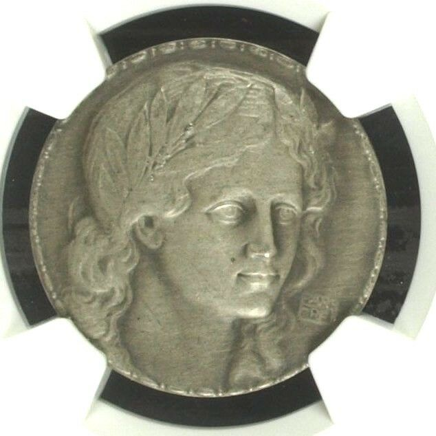 Swiss 1911 Silver Medal Shooting Fest Basel Beautiful Woman R-133b NGC MS 64