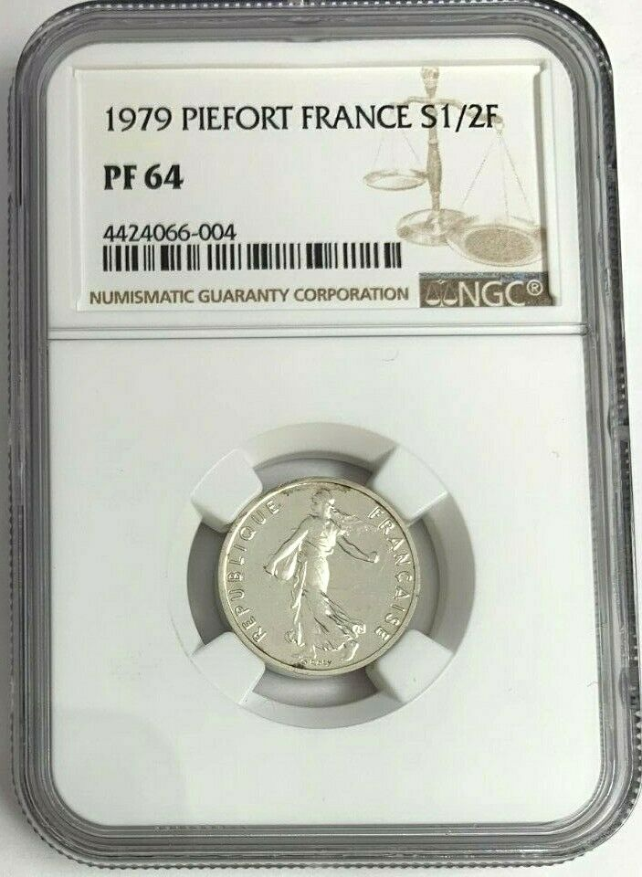 1979 France Proof Silver Coin 1/2 Franc Piedfort NGC PF64 Mintage-600