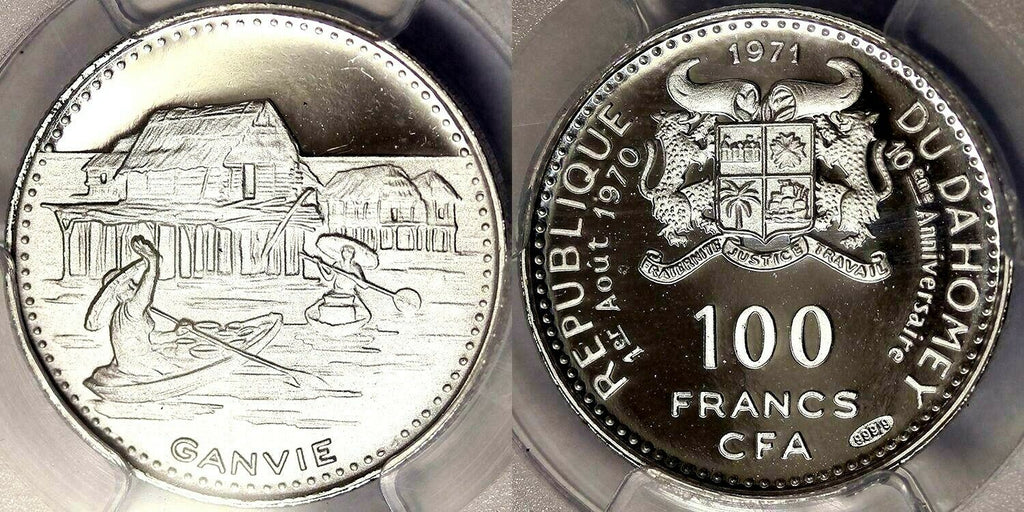 1971 Dahomey Silver 100 Francs PCGS PF68 10th Independence Buildings Lake Ganvié
