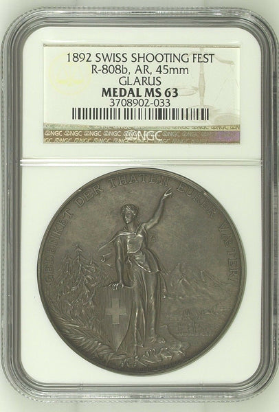 Swiss 1892 Set 2 Shooting Medals Glarus Silver Bronze R-808b R-808e NGC MS63