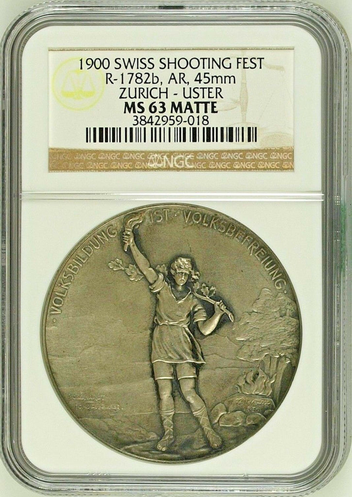 Swiss 1900 Silver Medal Shooting Fest Zurich Uster R-1782b NGC MS63 Matte - Rare