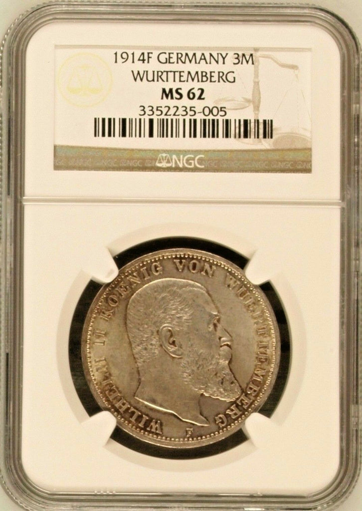 German States Wurttemberg 1914 Silver Coin 3 Mark Reichsmark Wilhelm II NGC MS62