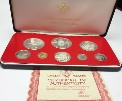 Cayman Islands 1976 Set 8 Proof Coins (4 Silver) minted in Canada Box COA