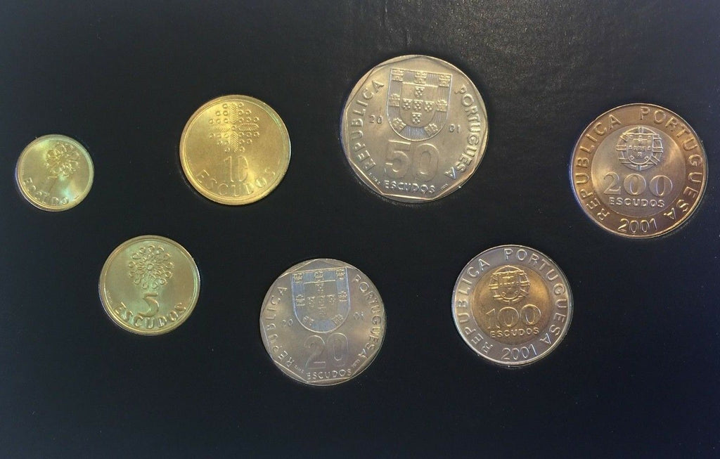 Portugal 2001 Complete Official Proof Set 7 Coins 1,5,10,20,50, 100, 200 Escudos