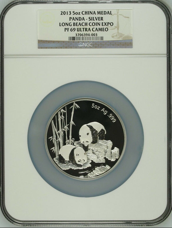 China 2013 Medal Panda 5 oz Silver Long Beach Coin Expo NGC PF69 Box COA