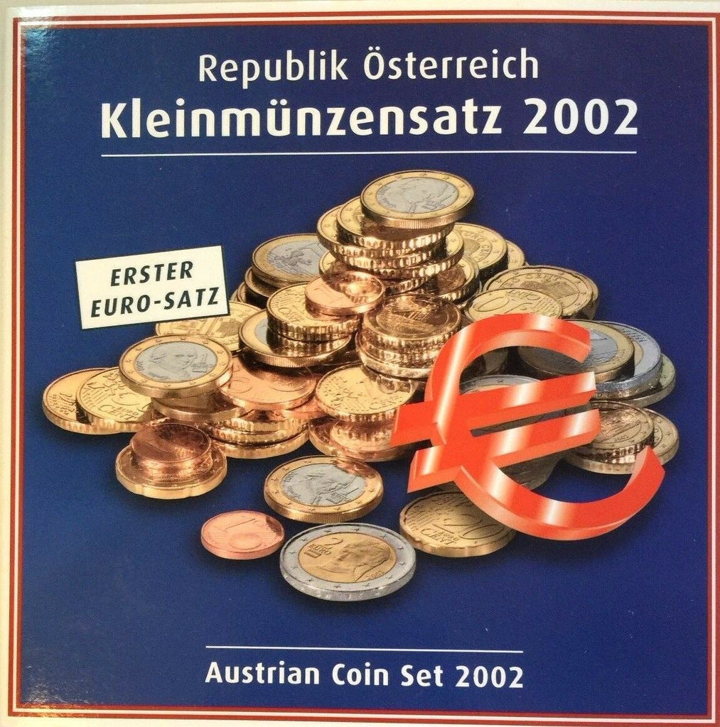 Austria 2002 Official Euro Set 8 Coins Special Edition First Euro