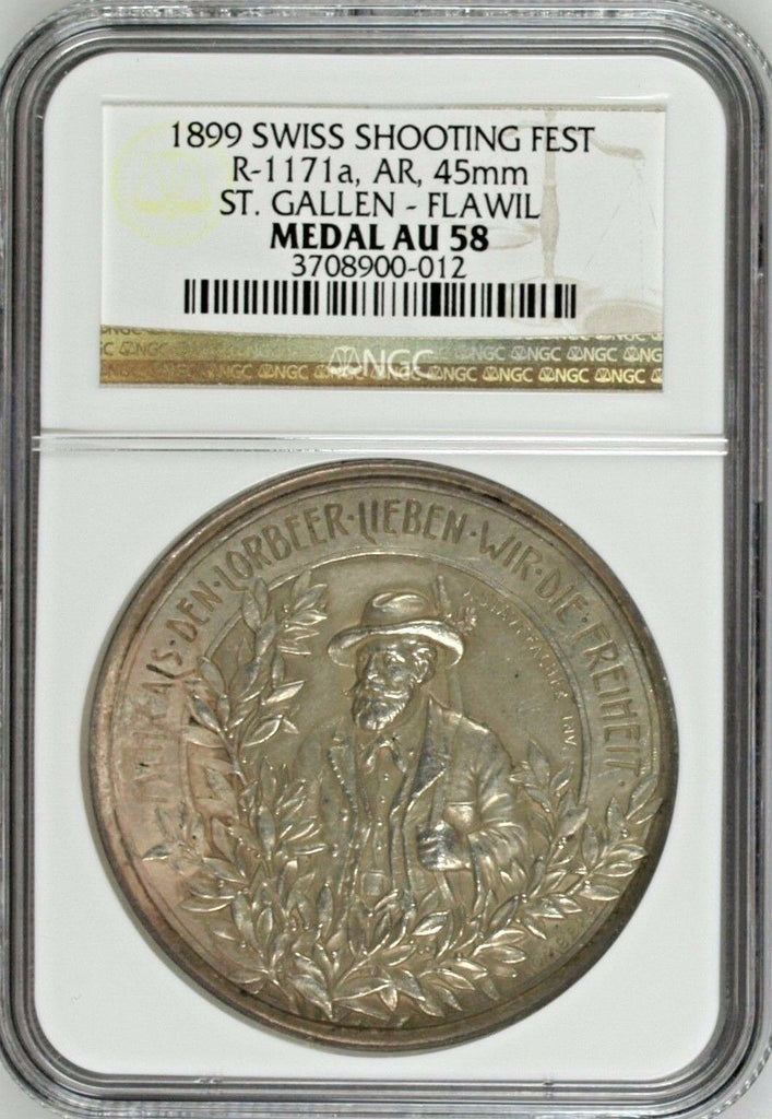 Swiss 1899 Medal Shooting Fest St Gallen Flawil R-1171a NGC AU58 Mintage-600