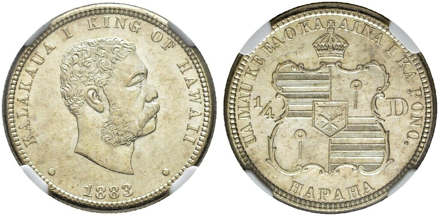 1883 Hawaii Silver 25 cents 1/4 dollar NGC MS65 King Kalakaua United States