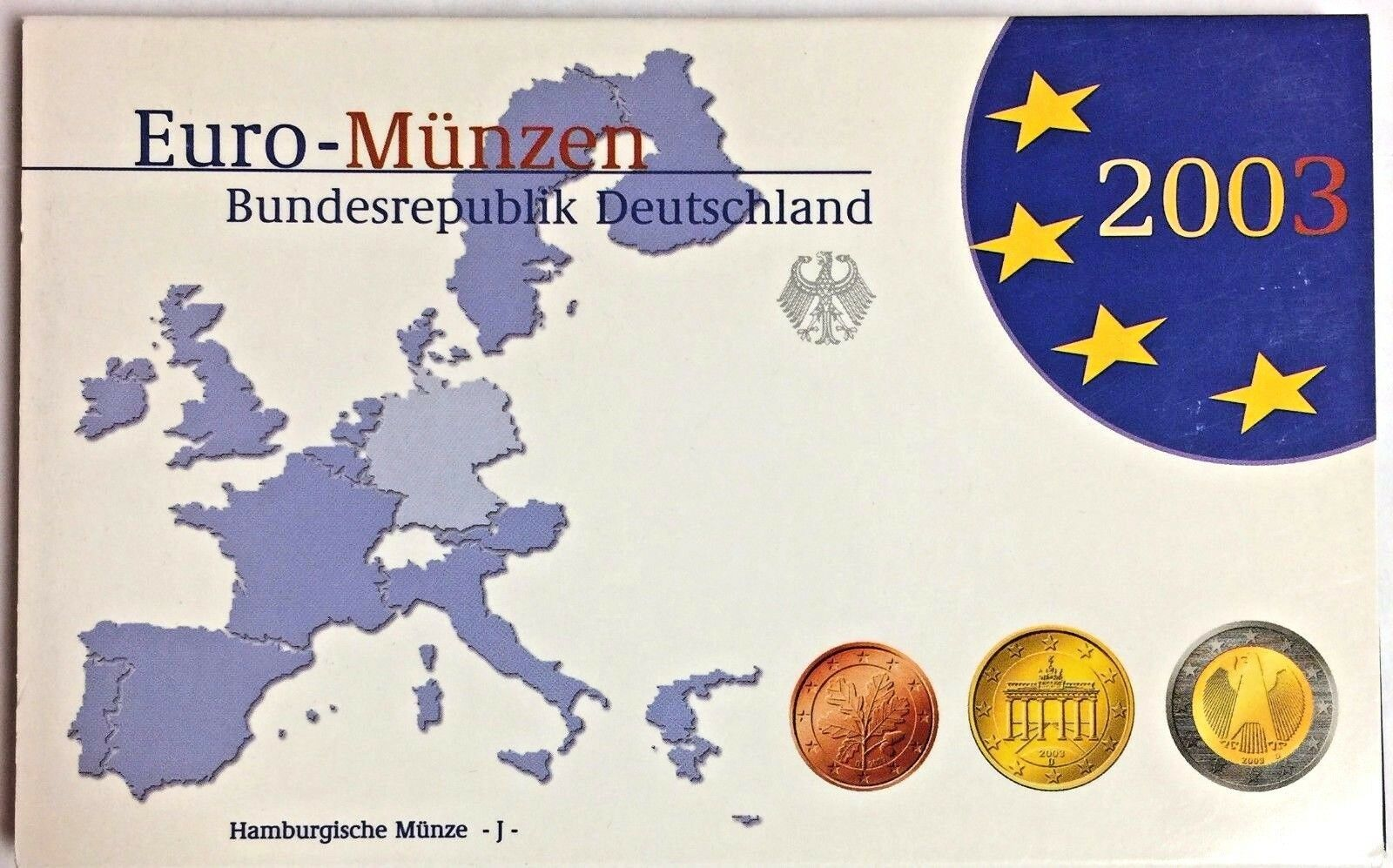 Germany 2003 J Official Euro Coins Set Hamburg Mint Special Edition Deutschland