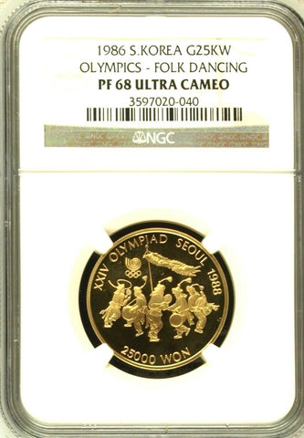 South Korea 1986 Gold 25K Won Seoul Olympics Folk Dancing NGC PF68