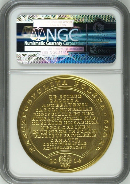 2014 Poland Gold 500 Zloty Stanislaw August Louis The Great NGC MS70 Mintage-750