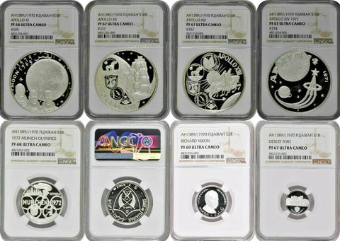 Fujairah UAE 1389//1970 Silver Proof Set 7 Coins graded by NGC PF67-69
