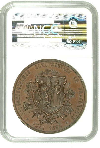 Swiss 1890 Bronze Medal Shooting Fest Thurgau Frauenfeld R-1250c NGC MS65