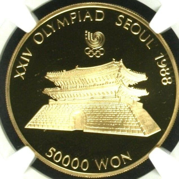 South Korea 1987 Gold Coin 50K Won Olympics Great South Gate NGC PF69