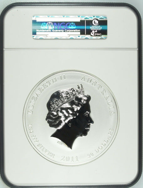 2011 Australia 1 kilo Silver Coin $30 Year of the Rabbit Perth Mint NGC MS69