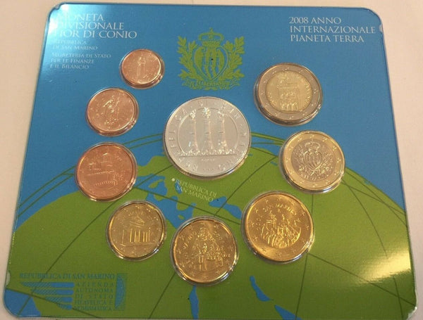 San Marino 2008 Complete Euro Proof Set 9 Coins Silver 5€ Year of the Earth COA