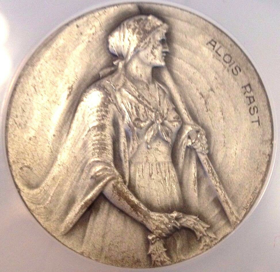 Rare Swiss Silver Shooting Medal Ticino R-1523a Alois Rast NGC MS63 Woman