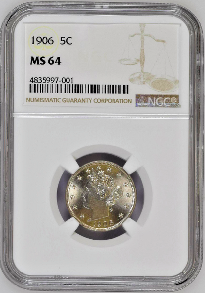 United States 1906 Liberty Head Five Cents Copper-Nickel Coin NGC MS64