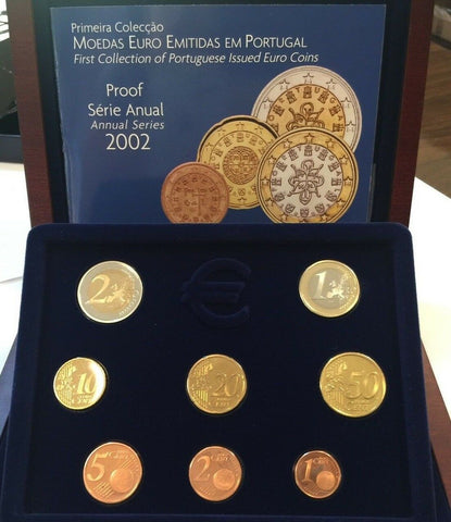 Portugal 2002 Complete Euro Proof Set 8 Coins Box COA