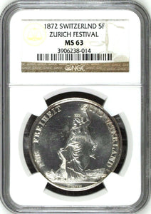 Swiss 1872 Silver Ancient Shooting Taler 5 Francs Zurich R-1731a NGC MS63 Medal