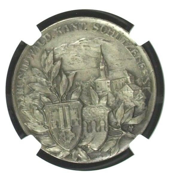 Swiss 1913 Silver Medal Shooting Fest Nidwalden Buochs R-1034c NGC MS64