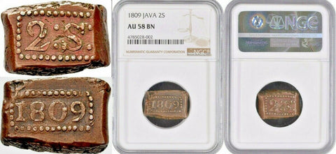 1809 Java Netherlands East Indies 2 Stuiver Napoleon Hammered Indonesia NGC AU58
