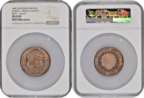 Swiss 1882 Medal Geneva Bronze Musical Contest Bovy 52mm NGC MS64 Rare