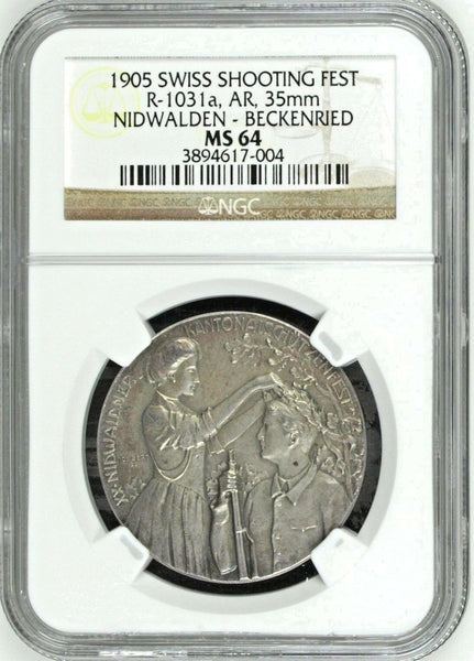 Swiss 1905 Silver Medal Shooting Fest Nidwalden Beckenried R-1031a NGC MS64 Rare