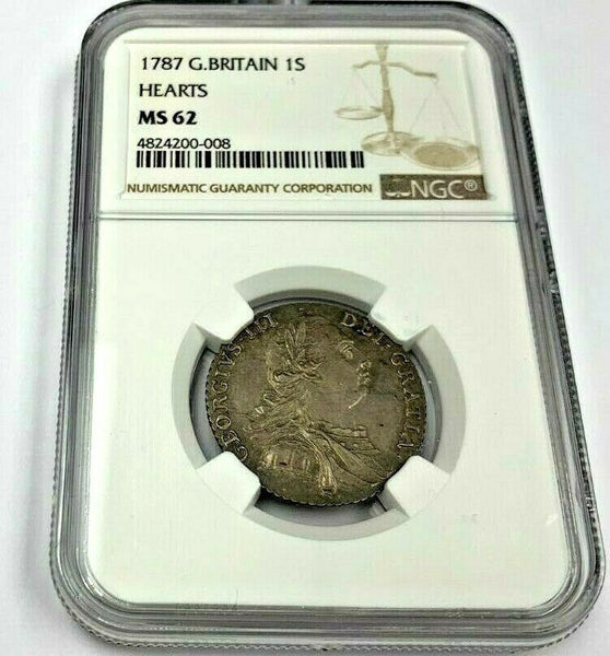 Great Britain 1787 Silver Shilling with Hearts George III NGC MS62