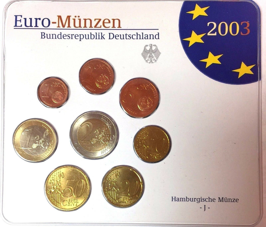 Germany 2003 Official Euro Coins Set Special Edition Hamburg Mint J Deutschland