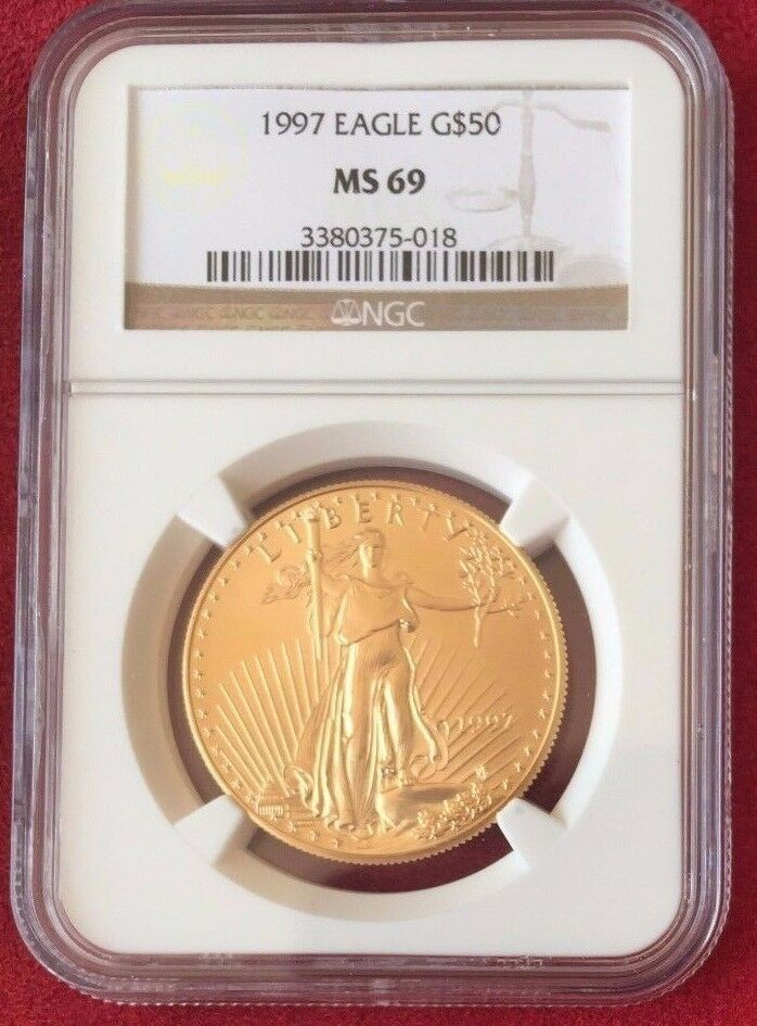 1997 Gold 1oz Coin $50 American Eagle Coin United States NGC MS69