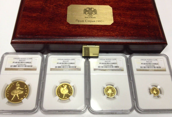 Russia 1993 Set 4 Gold Coins Ballet wooden Box NGC PF68