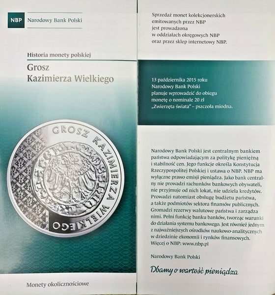 2015 Poland Silver Coin 20 Zloty Grosz of Casimir the Great Kazimierza Wielkiego