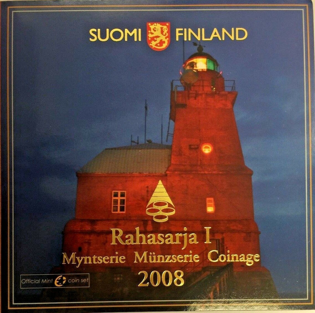 2008 Finland Euro Set 9 Coins Lighthouses History Porkkala Kallbada Version 1
