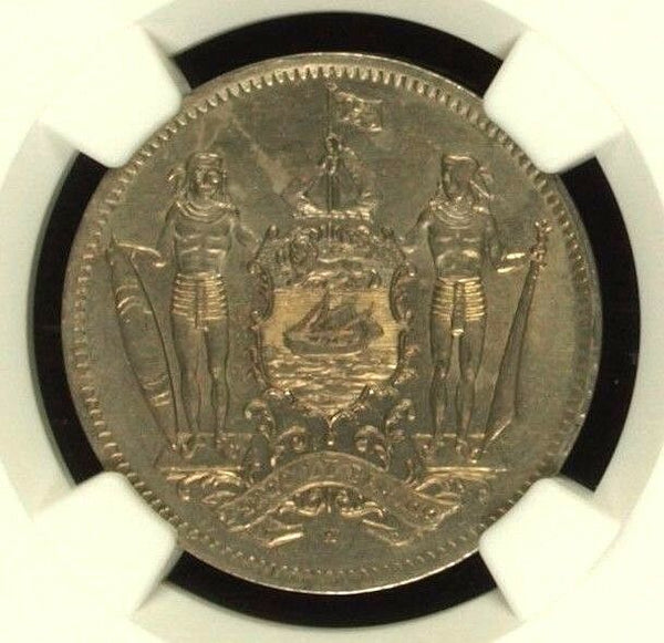 1941 H British North Borneo Copper-Nickel Coin 5 Cent NGC MS63
