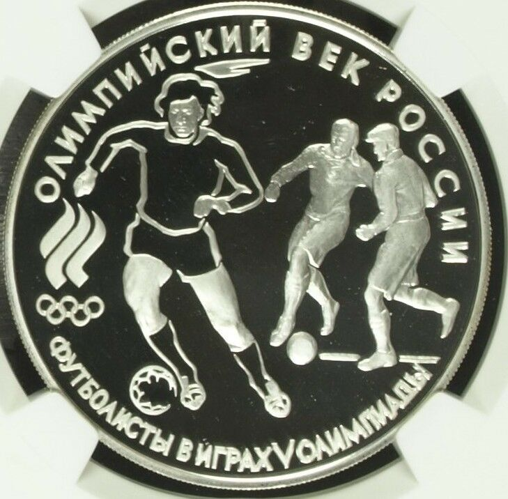 Russia 1993 Silver Commemorative Coin 3 Roubles Olympics Soccer NGC PF68 Footbal